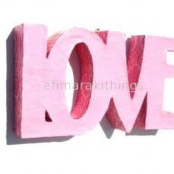 "3D paper mache word ""LOVE"""